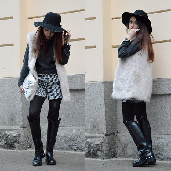 Diana Manolova - H&M Sweater, Bershka Furry Coat, Zara Boots, Zara Shorts, Zara Fashioncode Clutch - Monday