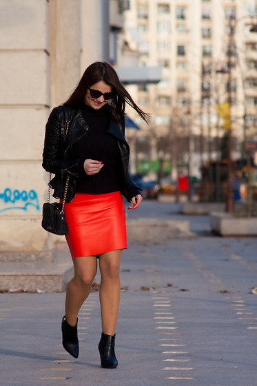 Kristina P. - Sheinside Jacket, Choies Skirt - The orange skirt