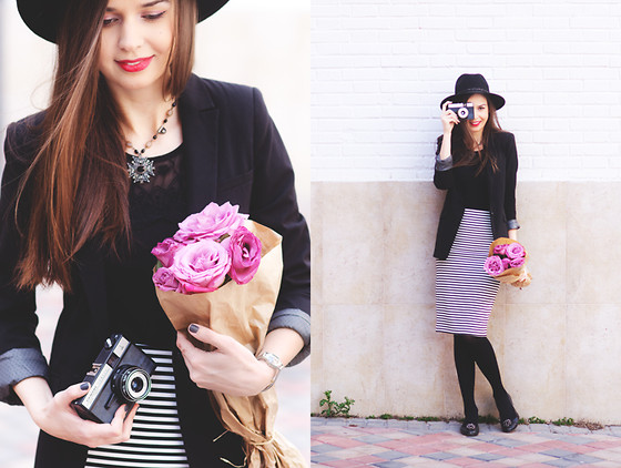 Mariya Marinova - Forever 21 Skirt, Pull & Bear Blazer, H&M Top, Calvin Klein Flats - White and black stripes.
