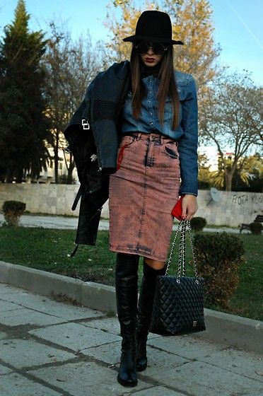 Fransi - Cacharel Bow Tie, Bershka Skirt, Moschino Bag, Asos Hat - Double Denim