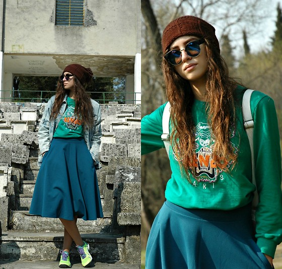 Fransi - Kenzo Sweater, H&M Skirt, Nike Trainers, Asos Sunglasses, Bershka Jacket - Spring Feelings