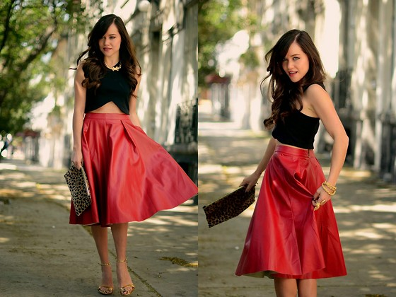 "Gaby Gómez MODA CAPITAL - Sheinside Skirt, Zara Top, Clare Vivier Clutch, Aristocrazy Bracelet, Steve Madden Heels - ""red leather midi skirt"""