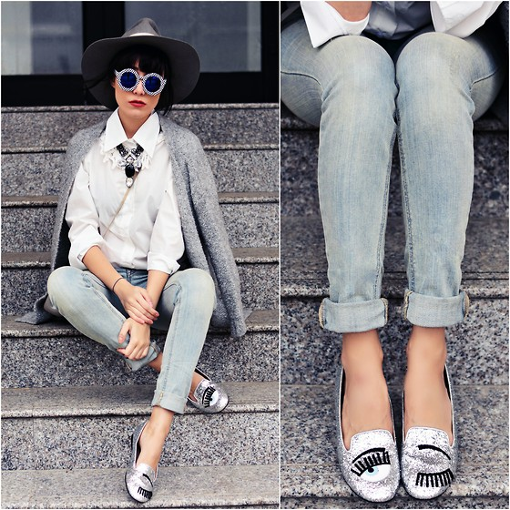Paris Sue - Wellbinder Jeans, Chiara Ferragni Flats, Raceu Hats Hat, Choies Shirt, Fashionyoulove Necklace - Shades of Grey