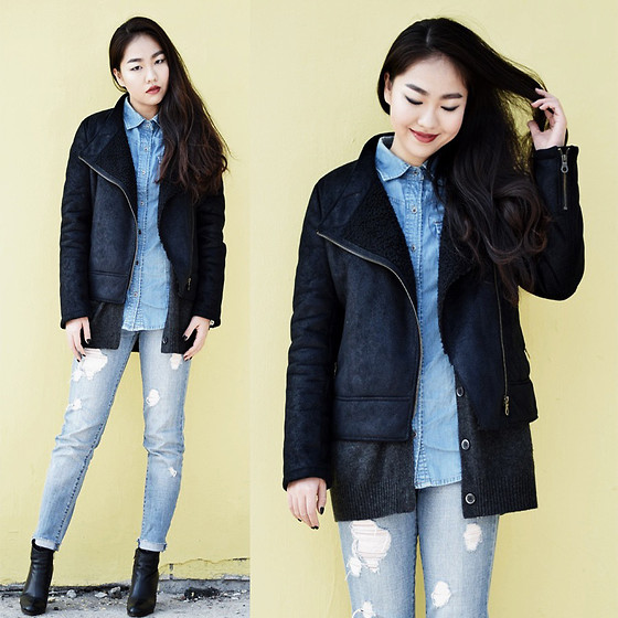 Meijia S - Online Coat, Zara Denim Shirt, Zara Ripped Jeans, Boots - Spring outing