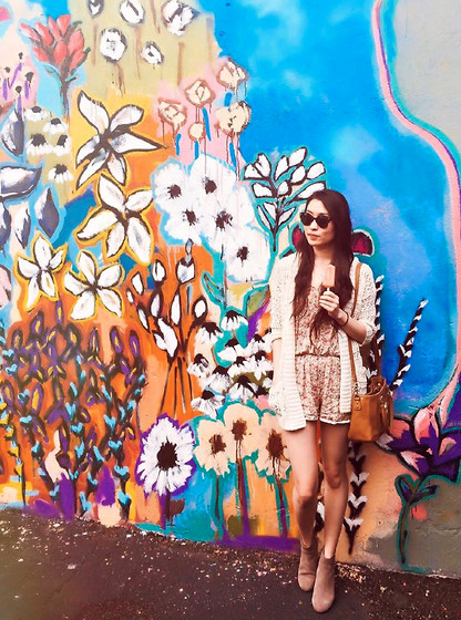 Mindy H - Urban Outfitters Floral Romper, Urban Outfitters Sweater Cardigan, Tory Burch Cross Body Bag, Urban Outfitters Clubmaster Sunglasses, Zara Suede Ankle Boots - * boho chic vibes