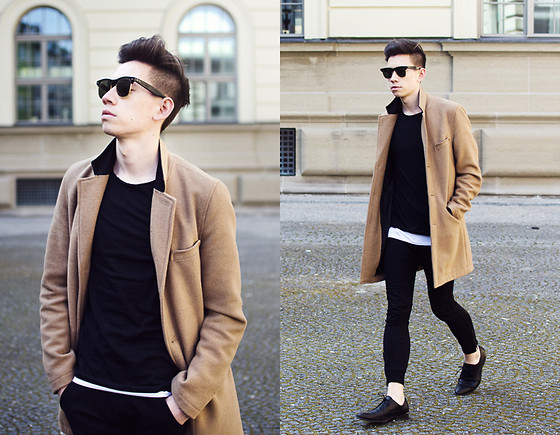 Frank Lin - Topman Camel Coat, Ray Ban Vintage Glasses, Imperial Black Pants, Drykorn Black Shirt - THE DESIRE FOR CONSTANT CHANGE
