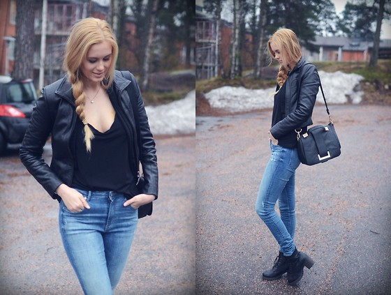 Anna K - Secont Hand Jacket, Gina Tricot Top, H&M Jeans, H&M Bag, Skopunten Shoes - Black leather