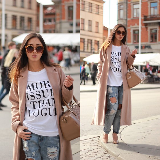 Louise Xin - Style Moi Ripped Boyfriend Jeans, Kappahl Camel Coat, Girlcode More Issues Than Vogue Top, Mango Nude Bag, Asos Nude Heels - Spring in town