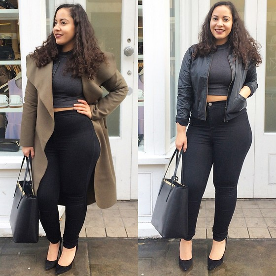 Andrea Da Silva - Missguided Turtle Neck Crop Top, Gianni Bomber Jacket, Asos High Waist Pants, No Name Waterfall Coat, Ted Baker Handbag, Dune London Suede High Heels - Khaki Waterfall Coat