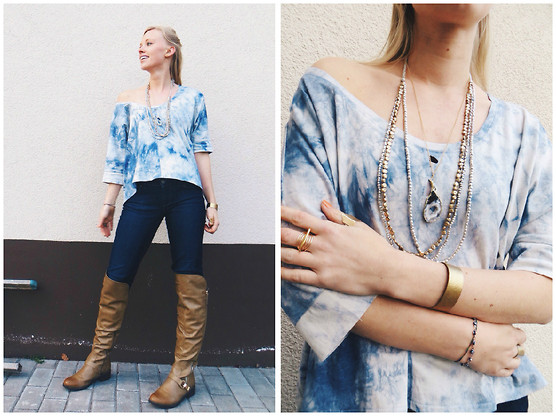 Signe Savant - Sara Bergman Tie Dye Triangle Cutout Trapeze Top, Song Yee Designs Geode Slice Necklace, Marisa Diane Designs Gold Bar Ring, Deb Over The Knee Boots - Sky blue...