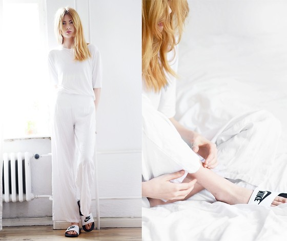 Ebba Zingmark - Over And Under T Shirt, Motel Trousers, Nike Sandals - LIKE PORCELAIN