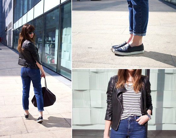 Veshion Life - Ray Ban Sunnies, Zara Bag, Topshop Jeans, Zara Tee, Zara Leather Jacket, Marc By Jacobs Watch - Mom said I can