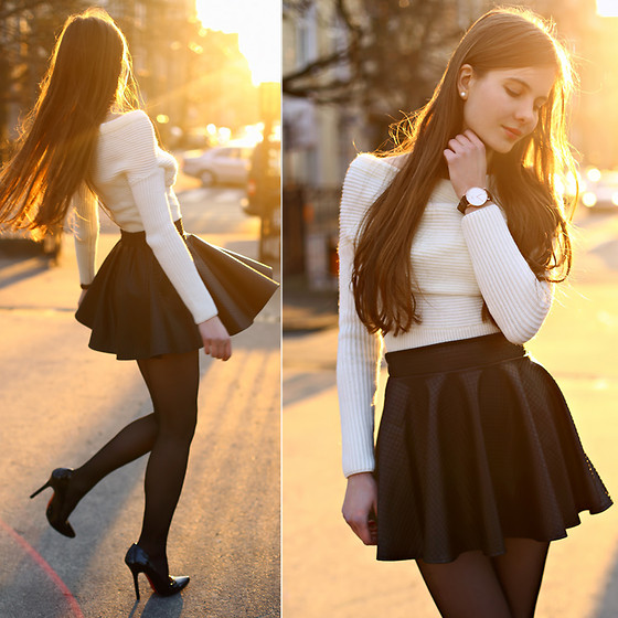 Ariadna Majewska - White Sweater, Leather Skirt, Daniel Wellington Watch - Black and white