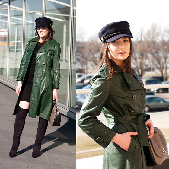 Anna Puzova - Lindex Breton Cap, Janbell Leather Trench, Forever 21 Little Black Dress, New Look Bag, Lambada Over The Knee Boots - Going Green For Leather Trench