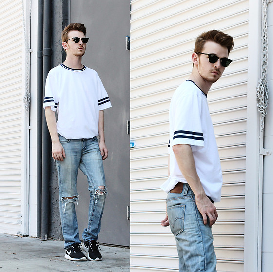 Drew Scott - Forever 21 Ribbed Neck Tee, Levi's® Loose Denim, Nike Roshe Runs, Ray Ban Clubmasters - Relaxed Fit