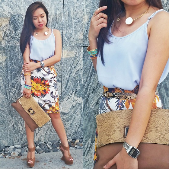 Krissy Pronto - Cotton On Top, Max Fashion Pencil Skirt, H&M Necklace - Oriental Flowers