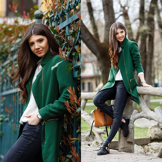 Larisa Costea - Sheinside Coat, Choies Cut Out Boots, Jessica Buurman Bag - Spring means green