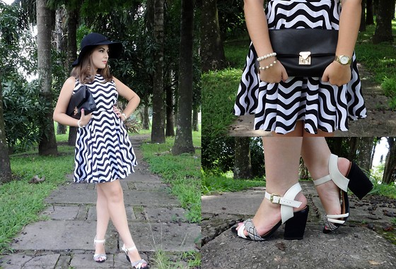 Karen Bartolomeu - Choies P&B Dress, Choies Floppy Hat - Black and White Dress
