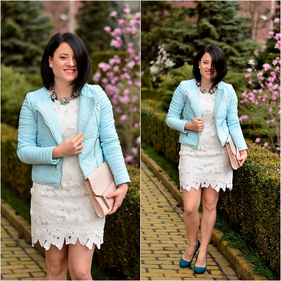 Chocolate Fashion Coffee - Style Moi Baby Blue Faux Leather Jacket, Style Moi White Dress, Zara Statement Necklace, H&M Pale Pink Clutch - Pretty pastels