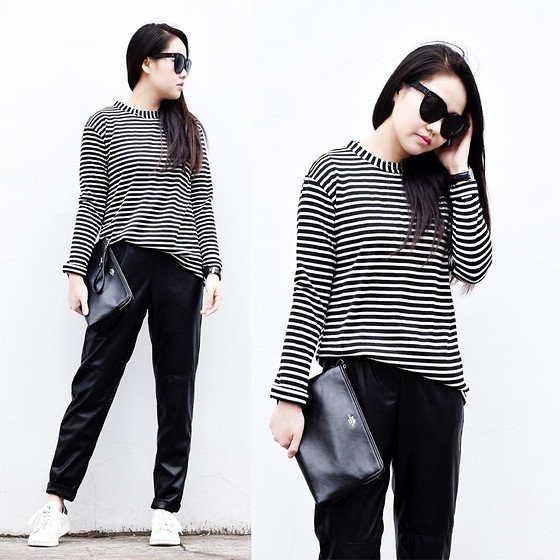 Meijia S - Wannabk Striped Tee, H&M Leather Pants, Coach Clutch, Adidas Sneakers, Céline Sunglasses - Simple black & white