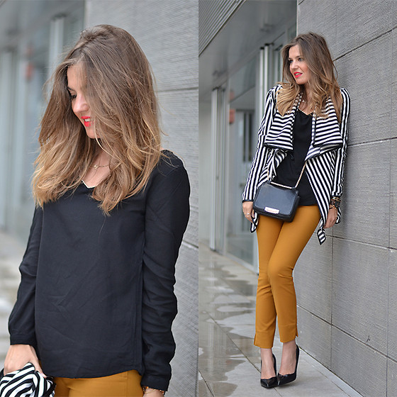 Helena Cueva - Fashion Pills Cardigan, Tendencco Blouse, Zara Pants - Striped Cardigan