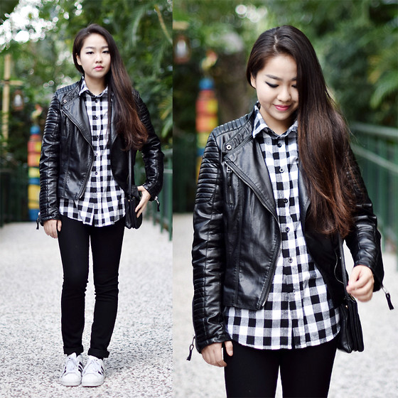 Meijia S - Romwe Moto Jacket, Forever 21 Check Shirt, H&M Jeans, Adidas Sneakers - Moto jacket day