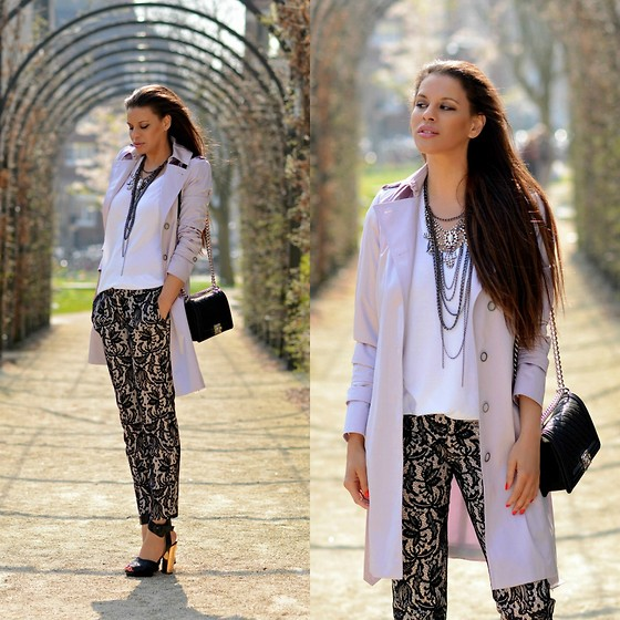 Tamara Chloe - Claudia Strater Trench Coat, Zara Pants, Zara Heels, Zara T Shirt, Chanel Bag - Lilac Trench