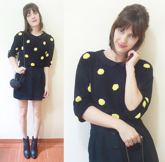 Lilian Larrañaga - Evabella Sweater, Zara Top, Asos Clutch, Second Hand Store From Japan Vintage Skirt, Arezzo Boots - B L A C K & POLKADOTS
