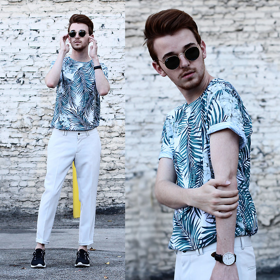 Drew Scott - Zara Palm Leaf Tee, Zara Grey Tailored Trouser, Ray Ban Vintage Round Sunnies, Nike Roshe Runs, Daniel Wellington Minimal Watch - Spring Hues