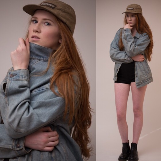 Kaye Claire Chapman - Supreme Classic Hat, Levi's® Vintage Levi's Light Wash Denim Jacket, Dr. Martens Chelsea Boot - Basics And Supreme