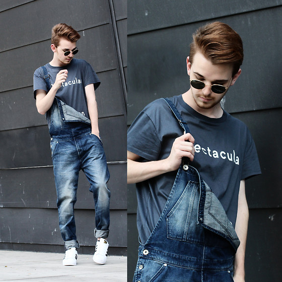 Drew Scott - Acne Studios Spectacular Tee, Zara Denim Dungaree's, Adidas White Superstar's, Vintage Rounds - Overall Success