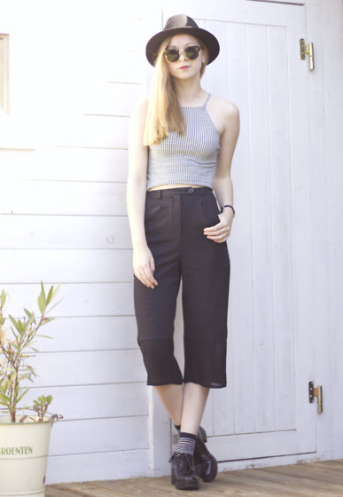 Janne B - Subdued Black And White Top, Urban Outfitters Black Trousers With Mesh, Zara Heeled Derby Shoes, Polette Sunglasses, America Today Black Fedora Hat - Black Mesh Trousers