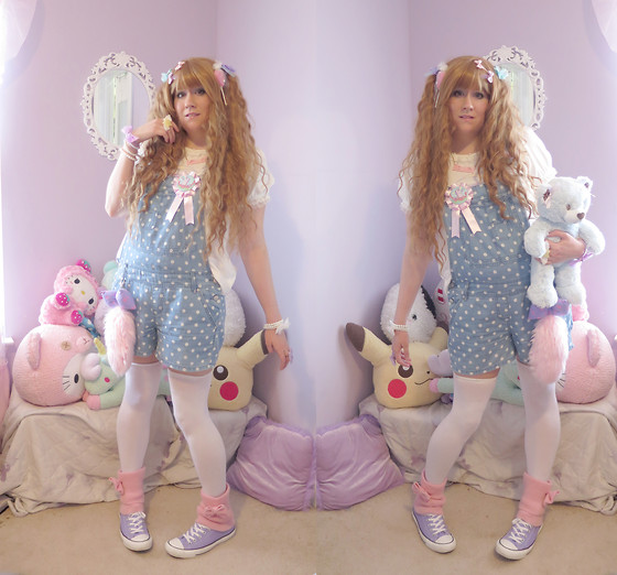 PastelKawaii Barbie - Rue21 Polka Dot Overalls, Bodyline Unicorn Cutsew, Ebay Thigh Stockings, Hobby Lobby Pink Legwarmers, Journeys Lavender Converse - Overalls and teddy bears
