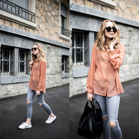 TIPHAINE MARIE - Shirt, Jeans, Sneakers, Bag - Weekend look.
