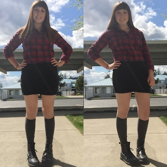 Haalen Agee - Plaid Flannel, Wet Seal Black Pencil Skirt, Forever 21 Grey Thigh High Socks, Dr. Martens Dr Marten Boots - Plaid + Grey