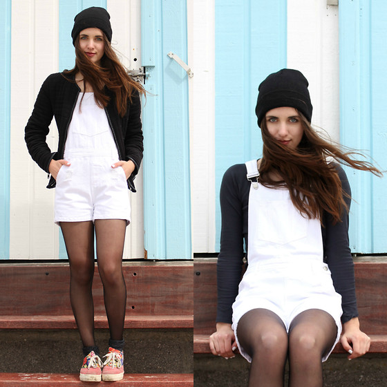 Nausikaä B - Zara Black Jacket, Daphnea Paris White Dungarees, Topshop Blue Long Sleeved Crop Top - White dungarees