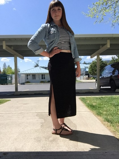 Haalen Agee - Gap Jean Jacket, H&M Striped Crop Top, Thrift Slit Side Maxi Skirt - Girly for Once!