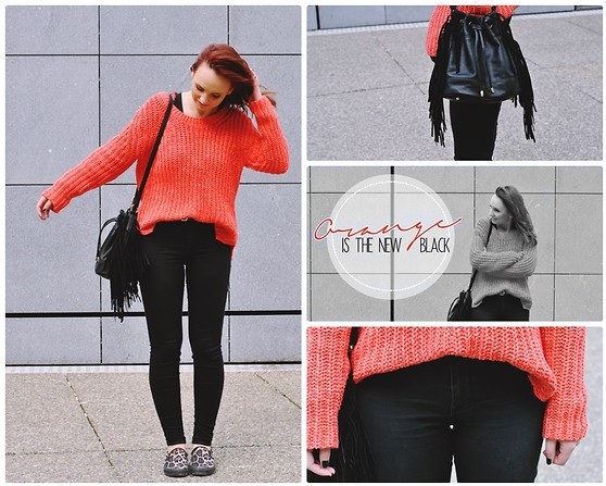 Lou-Ann A - Esprit Pull Néon, Bershka Black Jean, Stradivarius Bag, New Look Slip On - Orange is the new black