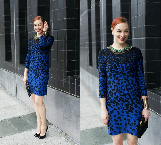 Caity Shreve - Asos Cobalt Cocktail Dress, J. Crew Jeweled Collar, Giuseppe Zanotti Patent Leather Pumps - Cobalt Queen