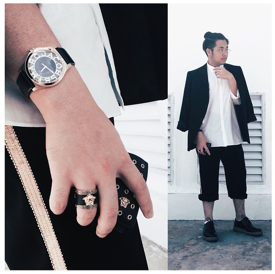 Valeri Novalianto - Jil Sander Blazer, Royal Republiq Dress Shoes, Versace Medusa Head Ring, Versace Wallet, Custom Cropped Embroided Pants - Konichiwa Genki Desu