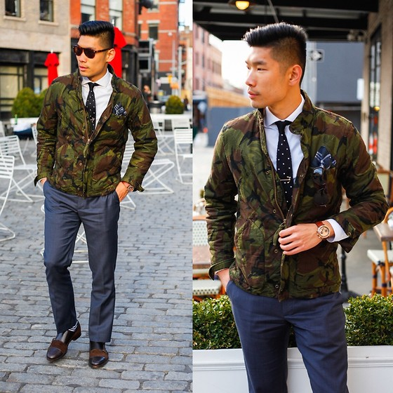 Leo Chan - J. Crew J.Crew Camo Jacket, Gents Mode Knit Tie & Anchor Tie Bar, J. Crew J.Crew Factory Thompson Slim Pants, Filippo Loreti Milano Watch, Zara Leather & Suede Double Monk Strap, Zerouv 8168 Sunglasses - Tailored Camo