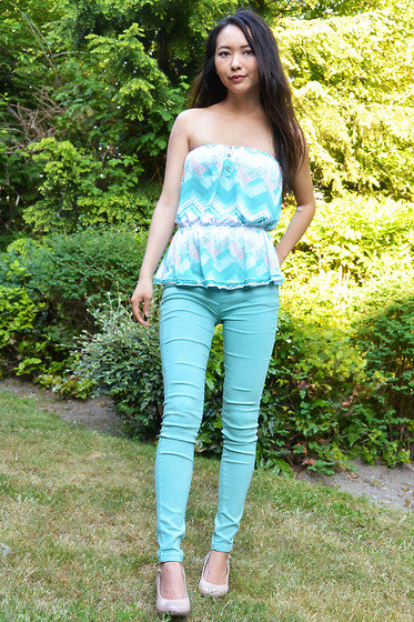 Julie Tao - Ardene Flowy Top, Got This From A Night Market In Taiwan! Mint Jeggings, Payless Shoesource Nude Wedges - Well...