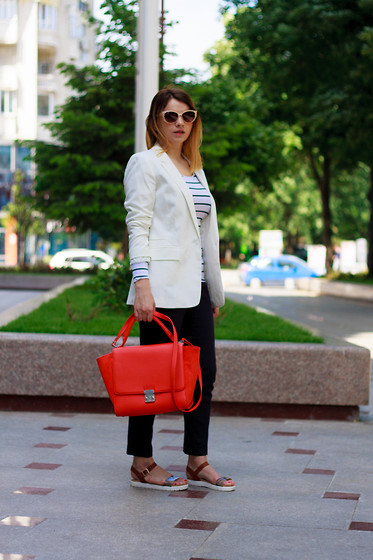 Kristina P. - Zara Bag, Pull And Bear Blazer, Zara Pants - Candy apple bag