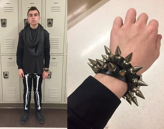 Brock Langel - Kenneth Cole Scarf, Topman Glitter Tee, H&M Black Collarless Button Up, Rude Hand Painted Skeleton Jeans, Hot Topic Vintage Necklace (Worn As A Bracelet) - Look From 5/22/15