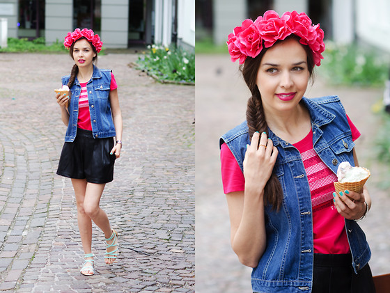 Mariya Marinova - Bijou Brigitte Hair Band, Tommy Hilfiger Top, H&M Leather Shorts, Aeryn Shein™ Ring - Summer Accessories.
