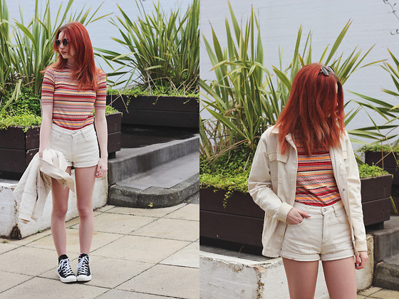 Hannah Louise - Topshop Striped Top, Comme Des Garçons X Converse Trainers, Topshop Off White Denim Jacket, Topshop Off White Denim Shorts - Topshop Festival Style & £200 Giveaway!