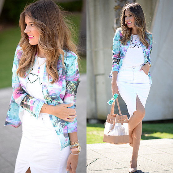 Helena Cueva - Sheinside Blazer, Stradivarius Skirt, By Neska Polita Necklace - Colourful Blazer