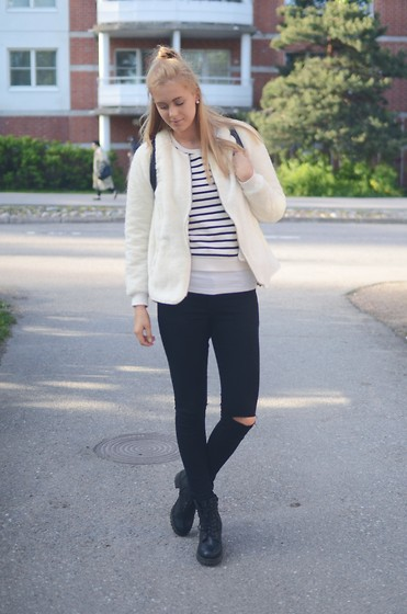 Anna K - Ginatricot Jacket, Second Hand Shirt, Cubus Jeans, Skopunkten Shoes - B&W once again