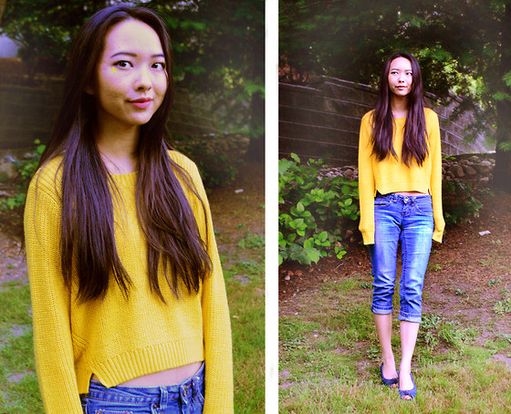 Julie Tao - Lativ Crop Sweater, Uk2la Denim Capris, American Eagle Outfitters Peeptoe Flats With A Tiny Wedge - At the end of the day... It's all about the casual
