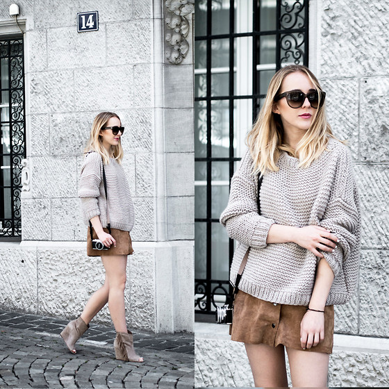 TIPHAINE MARIE - Skirt, Sweater, Sunglasses - Chunky knit & suede skirt